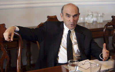 Elliot Abrams, the US special envoy for Iran and Venezuela, speaks to reporters at the US embassy in Lisbon on April 9, 2019. (AP/Armando Franca)
