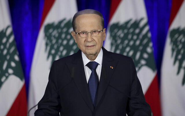 Lebanese President Michel Aoun speaks during an address to the nation at the presidential palace, in Baabda, east of Beirut, Lebanon, November 21, 2019. (Dalati Nohra via AP)