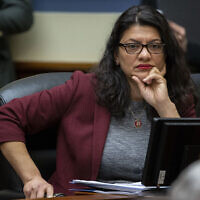 Rep. Rashida Tlaib, Democrat-Michigan, listens during a hearing of the House Committee on Oversight and Reform, on Capitol Hill, in Washington, February 12, 2020. (Alex Brandon/AP)