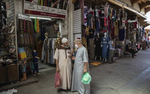 People in the reopened Medina of Rabat after lockdown measures were lifted in Rabat, Morocco, Friday, June 26, 2020. (AP/Mosa'ab Elshamy)