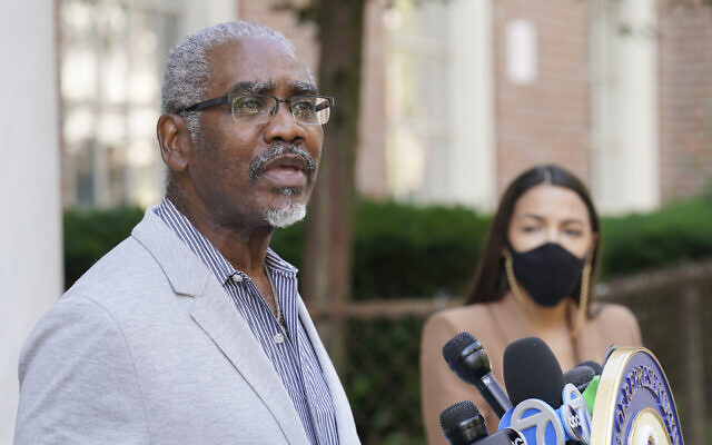 US Rep. Gregory Meeks, Democrat-New York speaks during a news conference outside the USPS Jamaica station, in the Queens borough of New York, August 18, 2020. (John Minchillo/AP)