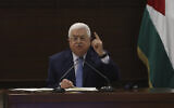 Palestinian Authority President Mahmoud Abbas speaks during a leadership meeting at his headquarters, in the West Bank city of Ramallah on September 3, 2020. (Alaa Badarneh/Pool Photo via AP)