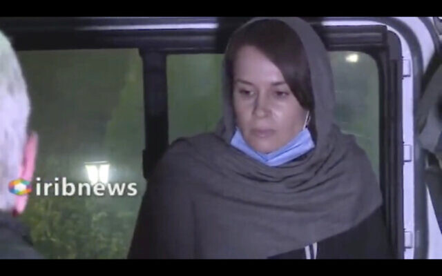 Screen capture from Iranian state television video, November 25, 2020, showing British-Australian academic Kylie Moore-Gilbert in Tehran, Iran. (Iranian State Television via AP)