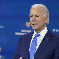 US President-elect Joe Biden speaks at The Queen theater, Tuesday, Dec. 1, 2020, in Wilmington, Delaware (AP Photo/Andrew Harnik)