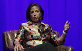 Former US national security adviser Susan Rice takes part in a discussion on global leadership at Vanderbilt University in Nashville, Tennessee, February 19, 2020. (Mark Humphrey/AP)