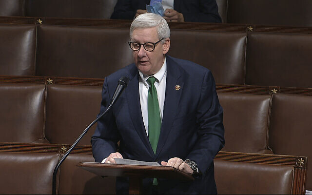 Screen capture from video fo Rep. Paul Mitchell, Republican-Michigan, speaks on the floor of the House of Representatives at the US Capitol in Washington, April 23, 2020. (House Television via AP)