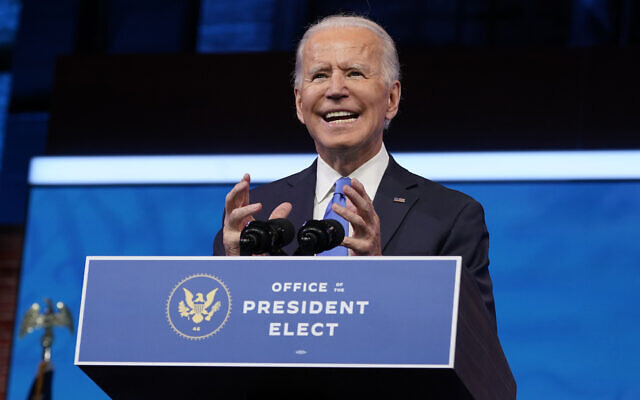 US President-elect Joe Biden speaks after the Electoral College formally elected him as president, at The Queen theater in Wilmington, Delaware, December 14, 2020. (Patrick Semansky/AP)