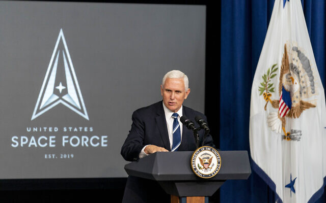 Vice President Mike Pence speaks at a ceremony to commemorate the first birthday of the US Space Force at the Eisenhower Executive Office Building on the White House complex, Dec. 18, 2020, in Washington. (AP Photo/Andrew Harnik)