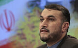 Hossein Amir-Abdollahian speaks during a press conference in Moscow, Russia on August 3, 2012. (AP/Misha Japaridze)