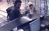 This security camera video footage shows Hayat Boumeddiene, and a male travel companion arriving at Istanbul's Sabiha Gokcen airport on Jan. 2, 2015. Boumeddiene, the widow of a gunman who attacked a kosher supermarket and a police officer, killing five people before he died in a raid by security forces, was jailed for 30 years in absentia on December 16, 2020. She is still on the run. (AP Photo/Haberturk Television, File)