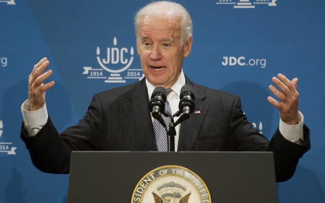 Then-vice president Joe Biden addresses the American Jewish Joint Distribution Committee Centennial Celebration luncheon in Washington, December 10, 2013. (AP Photo/Cliff Owen)