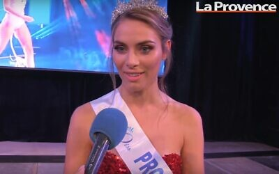 Screen capture from video of April Benayoum, who was targeted with online anti-Semitic abuse as she participated in the Miss France 2021 contest, December 2020. (YouTube)