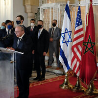 Israeli National Security Adviser speaks to the press at the royal palace in Rabat, Morocco, December 22, 2020. (Judah Ari Gross/Times of Israel)