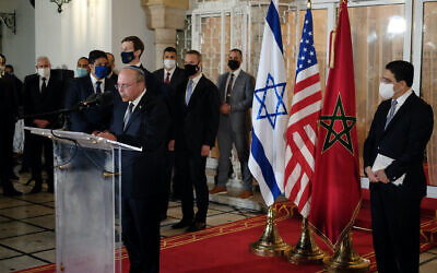 Israeli national security Adviser speaks to a press at the royal palace in Rabat, Morocco, December 22, 2020. (Judah Ari Gross/Times of Israel)