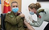 IDF chief of the General Staff Aviv Kohavi is vaccinated against COVID-19, December 20, 2020 (Israel Defense Forces, via twitter)