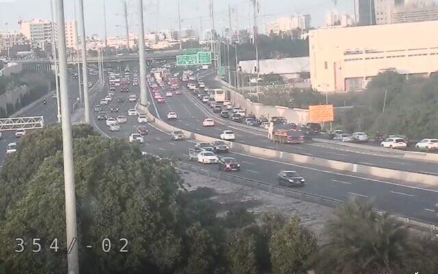 Screen capture from video of the Aluf Sade interchange, December 28, 2020. (Netivei Israel)