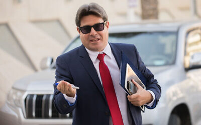 Likud Minister Ofir Akunis in Jerusalem on May 28, 2019. (Yonatan Sindel/Flash90)
