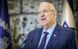 President Reuven Rivlin speaks during a press conference at the President's Residence in Jerusalem, on February 16, 2020. (Flash90)