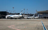 File: Parked airplanes at Ben Gurion Airport, August 8, 2020 (Olivier Fitoussi/FLASH90)