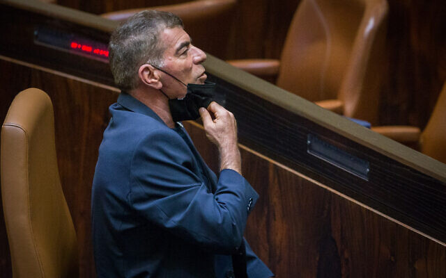 Foriegn Minister Gabi Ashkenazi attends a plenary session at the Knesset, in Jerusalem on August 24, 2020. (Oren Ben Hakoon)