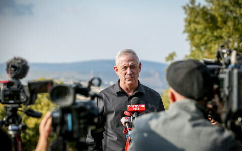 Benny Gantz seen during a visit on the Israel-Lebanon border, Northern Israel, on November 17, 2020. (David Cohen/Flash90)
