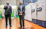 Prime Minister Benjamin Netanyahu (L) and Health Minister Yuli Edelstein visit the Teva Pharmaceuticals' logistics center in Shoham, where coronavirus vaccines are set to be stored and distributed, November 26, 2020. (Yossi Aloni/Flash90)
