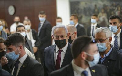 Illustrative: Prime Minister Benjamin Netanyahu at the Knesset, December 2, 2020. (Alex Kolomoisky/Pool)