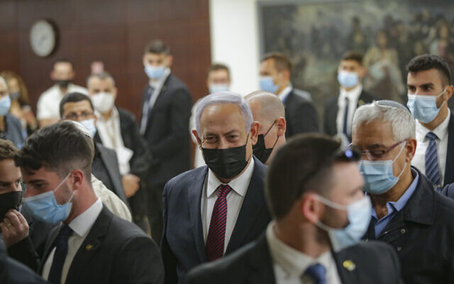 Illustrative: Prime Minister Benjamin Netanyahu at the Knesset, December 2, 2020. (Alex Kolomoisky/Pool)