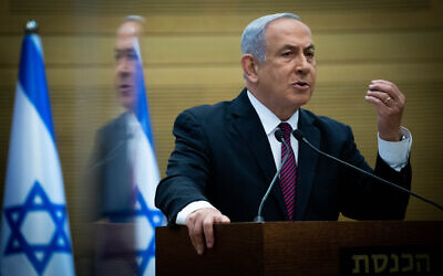 Prime Minister Benjamin Netanyahu speaks during a press conference at the Knesset in Jerusalem on November 2, 2020. (Yonatan Sindel/Flash90)