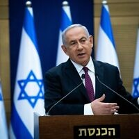 Israeli prime minister Benjamin Netanyahu gives a statement to the media in the Israeli Parliament in Jerusalem on November 2, 2020. (Yonatan Sindel/Flash90)