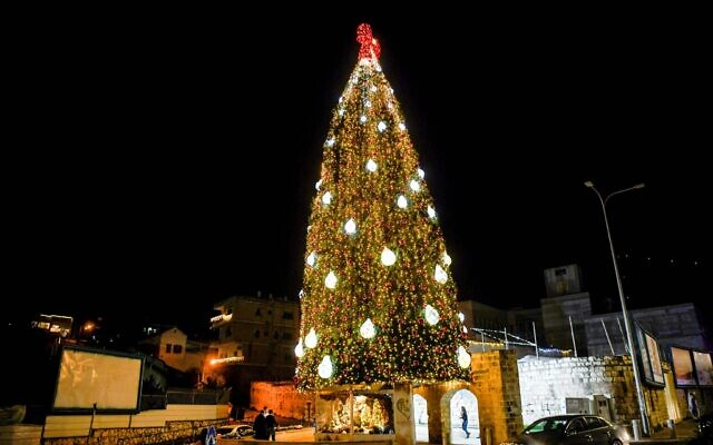Illustrative -- A Christmas tree in the northern Israel city of Nazareth on December 13, 2020 (Flash90)