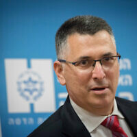 Gideon Sa'ar seen during a visit to Hadassah Ein Kerem Medical Center in Jerusalem on December 16, 2020 (Yonatan Sindel/Flash90)