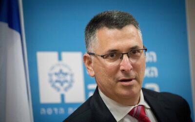 Gideon Sa'ar seen during a visit to Hadassah Ein Kerem Medical Center in Jerusalem on December 16, 2020. (Yonatan Sindel/ Flash90)