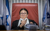 Supreme Court Chief Justice Esther Hayut attends a hearing at the Supreme Court in Jerusalem on December 22, 2020. (Yonatan Sindel/Flash90)