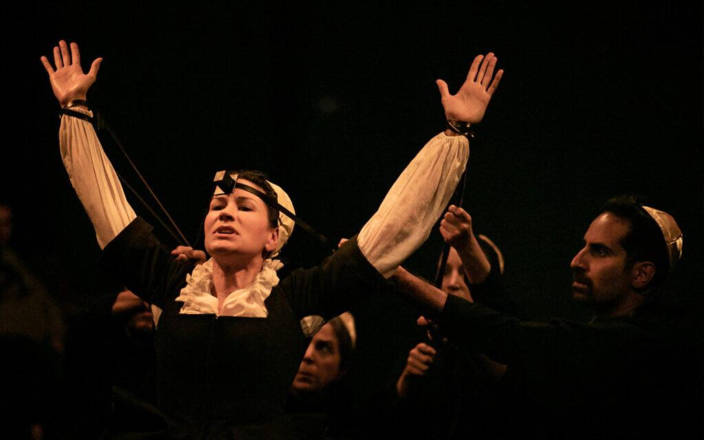 Illustrative: Julie A. Lockhart (arms raised), Rebecca Rasmussen, Monika Beal, and Fahad Siadat perform in Theatre Dybbuk's 'Hell Prepared.' (Taso Papadakis/ Theatre Dybbuk)