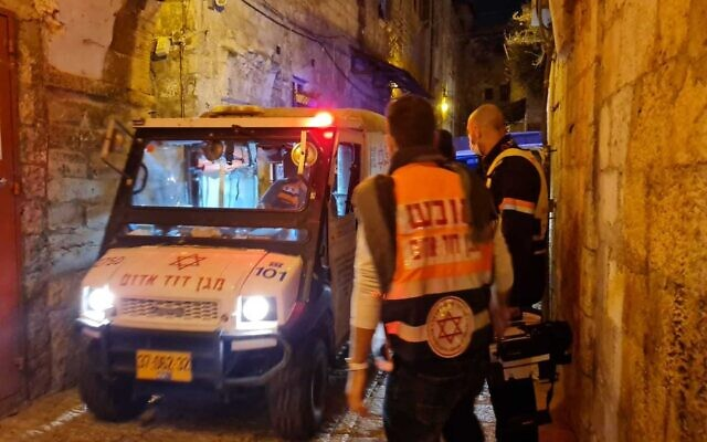 The scene of a shooting in the Old City of Jerusalem on December 21, 2020. (Magen David Adom)