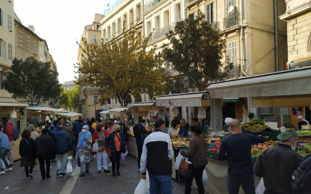 Noailles is a hub for Middle Eastern and African immigrants in Marseille. At its center is an open-air bazaar with stalls similar to those found in the shuk markets of Israel. October 2020. (Yaakov Schwartz/ Times of Israel)