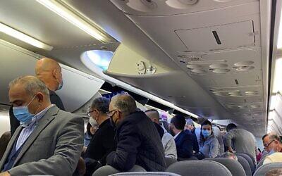 A FlyDubai flight from Tel Aviv to Dubai on December 7, 2020. (Shoshanna Solomon/ Times of Israel)
