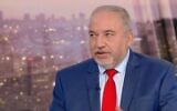 Screen capture from video of Yisrael Beytenu leader MK Avigdor Liberman during an interview with Channel 12 news, December 29, 2020. (Channel 12 news)
