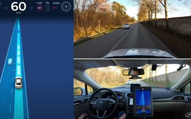 A Mobileye self-driving car on the streets of Munich, Germany (YouTube screenshot)