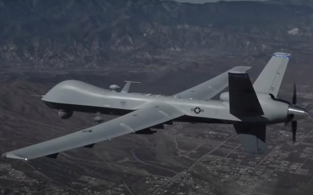 An MQ-9 drone. (Screen capture/YouTube)