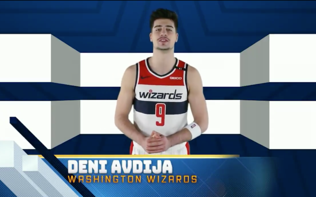 Washignton Wizards forward Deni Avdija particapates in a virtual Hanukkah candle lighting ceremony organized by the Israeli embassy in Washington on December 10, 2020. (Screen capture/Twitter)