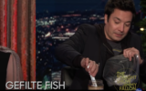 Screen capture from video of TV Host Jimmy Fallon trying gefilte fish for the first time. (YouTube)