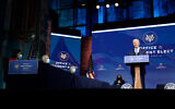 US President-elect Joe Biden announces his choice for several positions in his administration during an event at The Queen theater in Wilmington, Delaware, Dec. 11, 2020. (AP Photo/Susan Walsh)