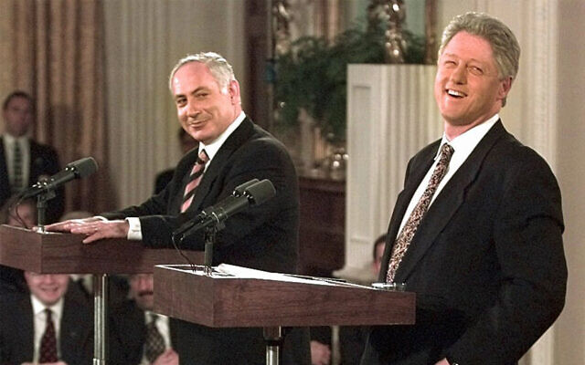 US president Bill Clinton and prime minister Benjamin Netanyahu at a joint press conference in the White House in Washington, February 13, 1997. (AP Photo/Ron Edmonds)