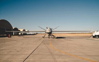 A US military MQ-9B Reaper drone at a US Army testing site, Yuma, Arizona, November 7, 2019. (US Marine Corps/Lance Cpl. Colton Brownlee)