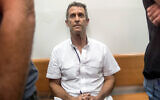 French-Israeli diamond magnate Beny Steinmetz sits at the Rishon Lezion Justice court, near Tel Aviv, August 14, 2017. (Jack Guez/AFP)