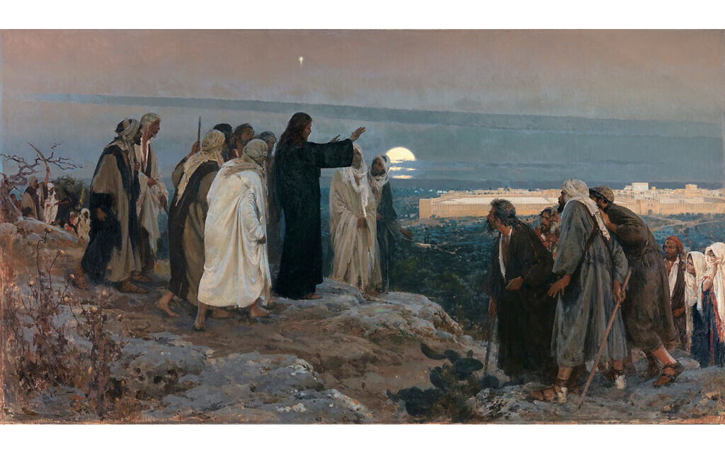 """""""Flevit super illam,"""" by Spanish painter Enrique Simonet, depicts Jesus mourning on the Mount of Olives as he approaches Jerusalem as described in the Gospel of Luke. The Latin title of the 1892 painting means """"He wept over it."""" (Public domain)"""