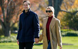 Jared Kushner and Ivanka Trump on the South Lawn of the White House in Washington, November 29, 2020. (AP Photo/Patrick Semansky)