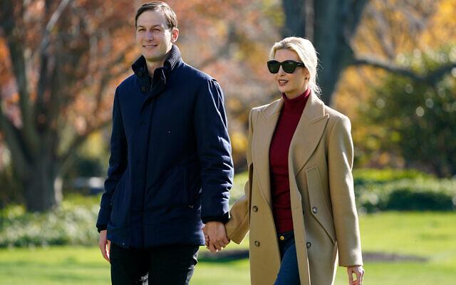 Jared Kushner and Ivanka Trump on the South Lawn of the White House in Washington, November 29, 2020. (AP Photo/Patrick Semansky)